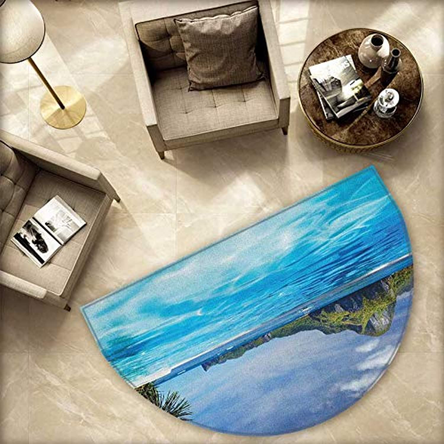 Landscape Half Round Door mats Landscape with Swimming Pool and Distant Island Tropic Exotic Hawaiian Theme Bathroom Mat H 78.7  xD 118.1  Turquoise Green