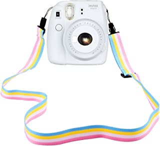 Elvam Camera Neck Shoulder Strap Belt in Rainbow Blue Yellow White Pink Color for Digital Camera/Fujifilm Instax Camera Mini 9 / Mini 8 / Mini 8+ / Mini 7s / Mini 25 / Mini 50s / Mini 90