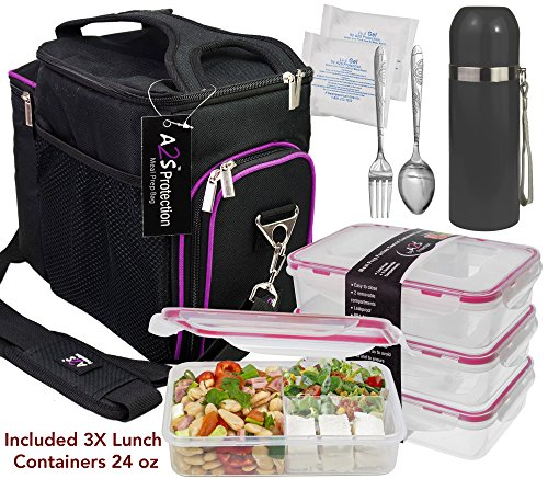 A2S Complete Meal Prep Lunch Box - 8 Pcs Set: Cooler Bag 3X Portion Control Bento Lunch Containers Leakproof 3 Compartments Microwavable BPA Free - Fork & Spoon - Thermos - 2X Ice Gel (Black/Purple)