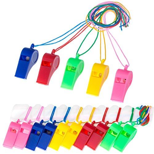 40 Piezas Silbatos de Plástico con Cordón para Fiesta Deportes, 5 Colores