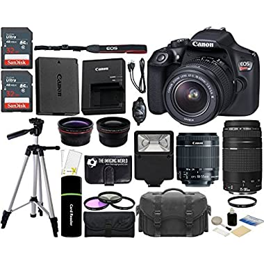 Canon EOS Rebel T6 18MP Wi-Fi DSLR Camera with 18-55mm IS II Lens + EF 75-300mm III Lens + 2x SanDisk 32GB Card + Wide Angle Lens + Telephoto Lens + Flash + Grip + Tripod - 64GB Accessories Bundle
