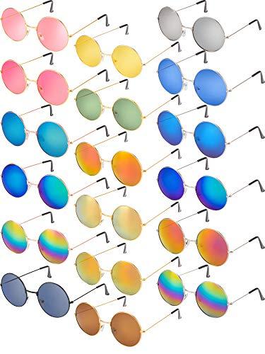 Blulu 18 Pares de Gafas de Sol Hippie Marco de Metal Colorido Crculo Vintage Retro Redondo de Estilos 1960 para Regalos de Fiesta de Disfraz de Mujeres Hombres Nias Nios