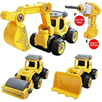 SZJJX 3 in 1 Take Apart Building Toy Car with Electric Drill