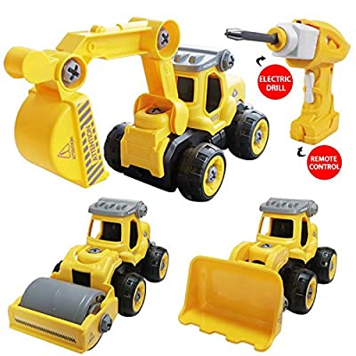 SZJJX 3 in 1 Construction Truck Toys Converts to Remote Control Car Kids DIY Stem Building Blocks Toy RC Cars for 3,4,5,6 Year Boys and Girls Gift with Electric Drill Toys