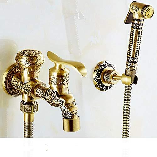NUGKPRT Ducha,Solo Grifo de bañera Tallado en frío con Dos existencias de Agua + Grifo de bidé de baño Tallado Acabado de latón Antiguo Dorado