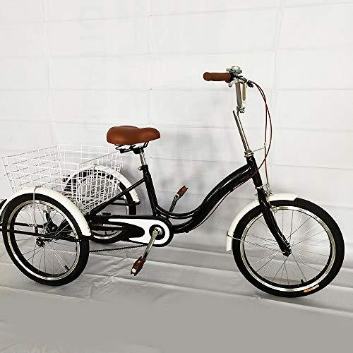 "MINUS ONE Triciclo para Adultos Adultos Triciclo Bicicleta con 3 Ruedas Senior Wheel Cargo Bicicleta 20""Cambio de Marchas con luz"