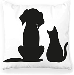 Toobaso Decorative Throw Pillow Cover Square 16x16 Silhouette Cat Dog White Icon Pet Head Symbol Animal Black Graphic Isolated Group Set Standing Canine Home Decor Zippered Pillowcase