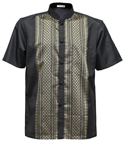 Männer Kurzarm Thai Seidenhemd Mandarin Band Kragen Casual (3XL, Schwarz)