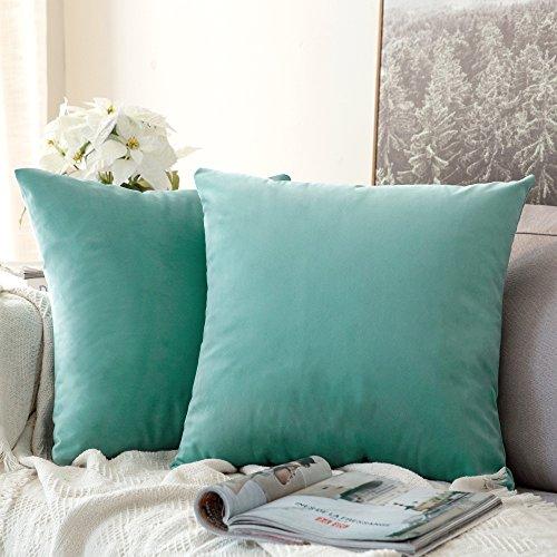 Pack de 2, MIULEE Terciopelo Suave Juego de Mesa de Manta de decoración Cuadrado Fundas de Almohada Funda de cojín para sofá dormitorio18 x 18 Pulgada 45 x 45 cm Teal Green
