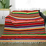 Eccbox 84 x 59 Inch Mexican Tablecloth for Mexican Wedding Party Decorations, Large Square Fringe Cotton Mexican Serape Blanket Bright Colors Table Cover Table Cloth Picnic Mat (Red)