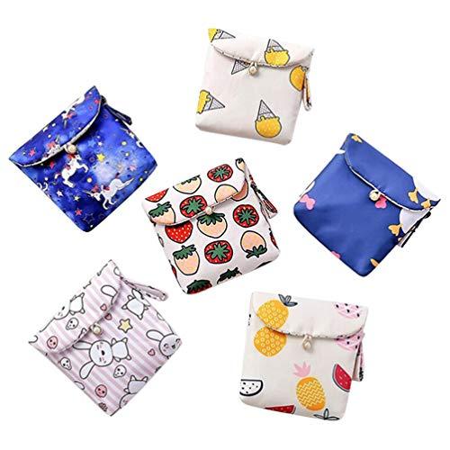 Cabilock Lot de 6 mini porte-monnaie, porte-serviettes, pochette pour argent, carte d identité, clés, écouteurs, rouge à lèvres, sac pour femmes, filles et enfants.