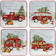 """Certified International Home for Christmas 6"""" Canape Plate, Set of 4 Assorted Designs, One Size, Mulicolored,"""