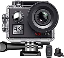AKASO V50Elite 4K 60fps WiFi Action Camera Touch Screen Voice Control EIS 40m Underwater Waterproof Camera Adjustable...