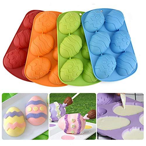 Stampo in Silicone a Forma di Uovo di Pasqua, 6 cavità, per Dolci, Strumenti di Cottura Fai da Te, per Decorare Torte e cioccolatini, Colore spedito in Modo Casuale