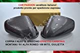 COPPIA CALOTTE SPECCHIO CARBON LOOK NUOVE COPRISPECCHI RETROVISORI EFFETTO CARBONIO