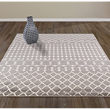 Diagona Designs Contemporary Traditional Moroccan Trellis Design 7' X 10' Area Rug, 79  W x 111  L, Gray/Ivory (JAS2113)