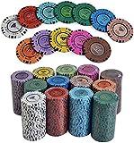 Capacity 100pcs / Set Clay Diamond Poker Fichas Conjuntos con Estuche acrílico y Tela de Mesa y botón Casino Texas Hold'em Poker Conjuntos de póquer