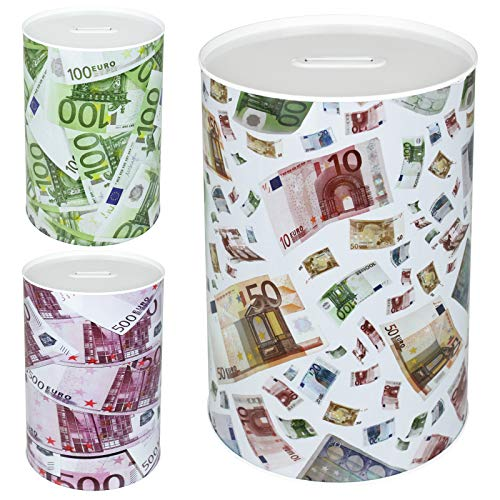 TW24 Spardose Euro Design mit Größenauswahl - Sparbüchse - Sparschwein - Euroschein Dose - Kinder Metallspardose (groß Scheine)