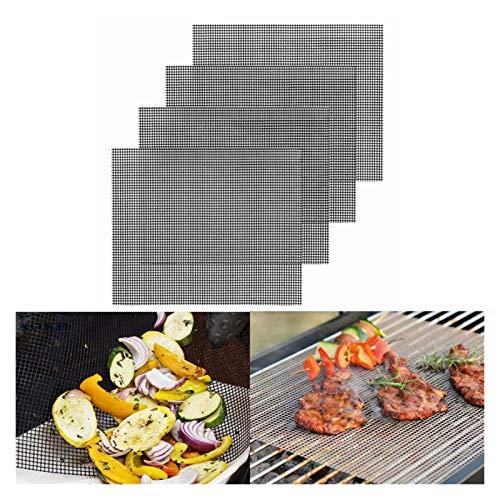 Grill Mat 4 unids barbacoa parrilla de malla barbacoa alojamiento al aire libre pájaro bbq parrilla estera al aire libre cocinar hornear estera horno cocinar a la parrilla hoja (Color : 4pcs)