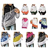 Hoodies for Women Casual Lightweight Drawstring Cowl Neck Color Block Long Sleeve Pullover Tops Sweatshirt