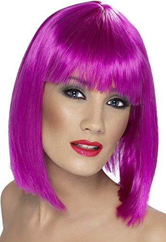 Smiffys Perruque glam, violet fluo, cheveux courts, dégradés avec frange Taille Unique