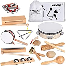 WisaKey Kids Musical Instruments Set, Wooden Music Instruments Toys for Kids and Toddlers Age 3-5 with Storage Bag Preschool Educational Music Toys for Boys Girls
