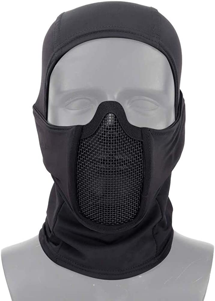 Tactical Gear Breathable Balaclava Mesh Mask Ninja Style Full Face Airsoft Mask Windproof Motorcycle Cycling Hood Neck Warmer
