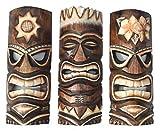 Interlifestyle 3 Tiki Máscaras 30cm Im Hawai Estilo Juego de 3 Máscara de Madera Máscara de Pared Isla de Pascua