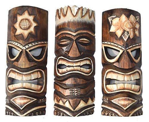 Interlifestyle 3 Tiki Masken 30cm im Hawaii Style 3er Set Holzmaske Wandmaske Osterinsel