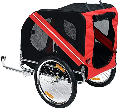 SGRMYS Plegable Perro Bastidor del Remolque de Bicicleta del Animal doméstico con Estructura de Acero suspendido Cochecito,RedBlack