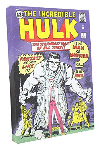 Toynk Marvel Comic Cover 9 x 5 Inch Canvas Wall Art | The Incredible Hulk #1