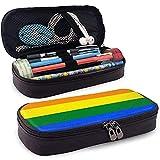 Estuche de lápices con bandera del orgullo gay - Estuche de lápiz de cuero PU de alta capacidad Organizador de papelería Bolsa de maquillaje cosmético