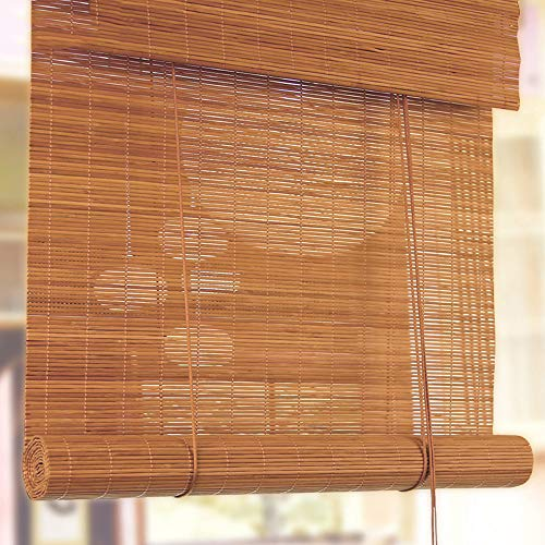 LHJDM - Estor de bambú para exterior enrollable, aislamiento térmico, filtro de luz, translúcido, persianas venecianas interiores, instalación en techo o pared, madera bambú, W100xH160cm/W39xH63in