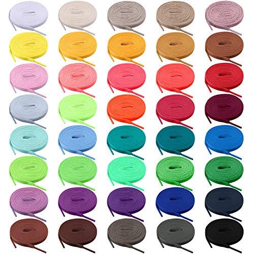 BQTQ 40 Paia Lacci per Scarpe Colorati Lacci Piatti per Scarpe Sportive, 40 Colori (115cm)