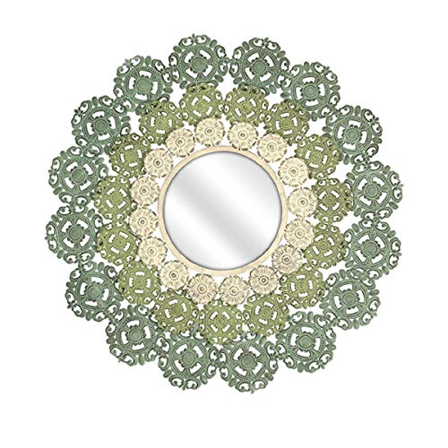 """CC Home Furnishings 38"""" Round Medallion Wall Mirror with Ornate Pastel Scroll Work Frame"""