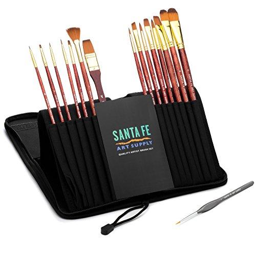 Sconto di Natale 70% OGGI! Santa Fe Art Supply ™ Set di pennelli per artisti di qualità migliore Acrilico per pittura ad olio e viso 15 + 1 Pennelli per pennelli professionali in custodia da viaggio