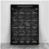 DLFALG F1 Formula Grand Poster Prix Race Calendar Circuito Mapa Pista Lienzo Pintura Arte de la pared Imagen Imprimir Bar Decoración para el hogar-50x70cm Sin marco