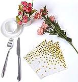 nuoshen Party-Tischdecken mit goldenen Punkten, 50 Servietten, eine einmalige Papier-Tischdecke, ideal für Geburtstagspartys - 6