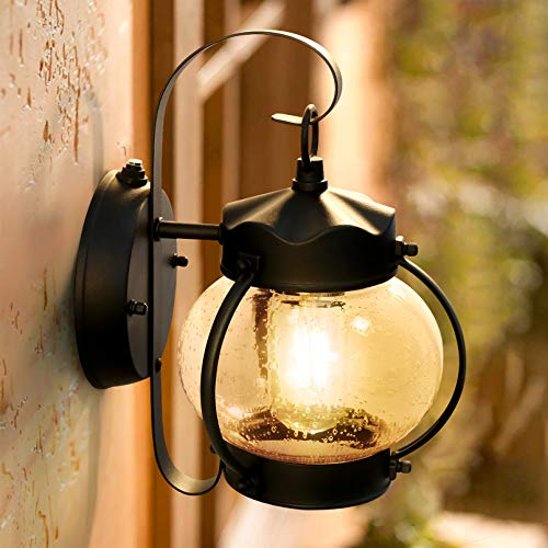 Dusk to Dawn Sensor Wall Lantern Outdoor Light Fixture Wall Mount, Black Exterior Led Outdoor Lighting Porch Light with E26 Base Socket, Anti-Rust Seeded Glass Waterproof Wall Lamp for Garden, Garage