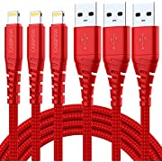 3Pack iPhone Charger Cable 10Ft, CABEPOW 10 Long Foot Lightning to USB-A 2.4A Fast Charging Cord with 10 Feet Premium Nylon Braid Wire for iPhone 11/11Pro/X/XS/XR/XS Max/8/7/6/5S/SE/SE 2020 - Red