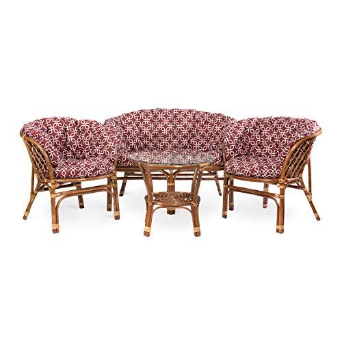 Rikmani Garden Furniture set – Balcony Furniture - Lounge Furniture Terrace - Garden Furniture - Table set – Balcony Furniture Set (Hellbraun - Muster Rot)