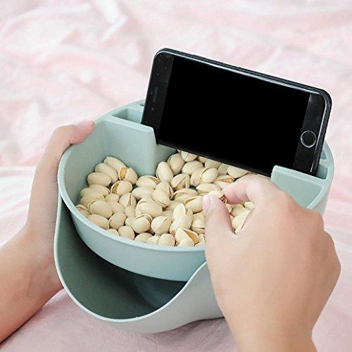 K-youth® Creative Bocadillo y Frutas Secas Caja de almacenaje,Multifuncional Caja De Almacenamiento para Servir de Bol para Aperitivos, nueces, núcleos con teléfono móvil Soporte (Azul)