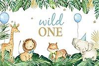 新しい野生の1つの誕生日の背景7x5フィートの漫画の象のサファリパークの写真の背景の最初の誕生日の男の子の女の子の部屋の装飾ケーキスマッシュパーティーテーブル画像booth小道具デジタル壁紙