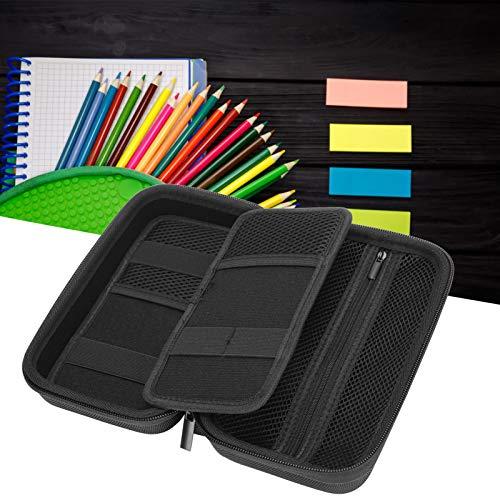 Estuche de almacenamiento de bolígrafos, estuche de papelería práctico de 4 colores, multifunción portátil para estudiantes Artistas Almacenamiento de bolígrafos Almacenamiento de lápices(black)