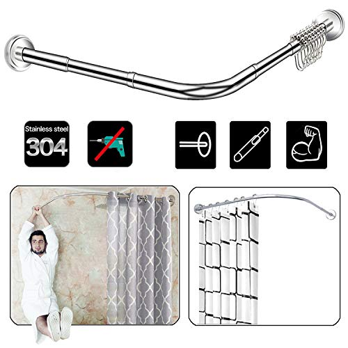 Quany Life Stretchable Corner Shower Curtain Rod - Drill...