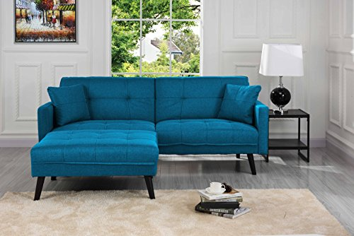 Sofamania Mid-Century Modern Linen Fabric Futon, Small Space Living Room Couch...