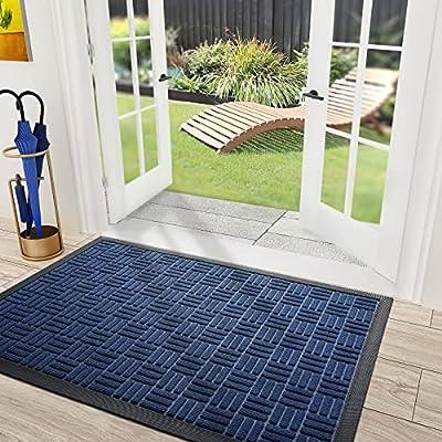"""DEXI Door Mat Front Indoor Outdoor Doormat,Small Heavy Duty Rubber Outside Floor Rug for Entryway Patio Waterproof Low-Profile,17""""x29"""",Blue"""