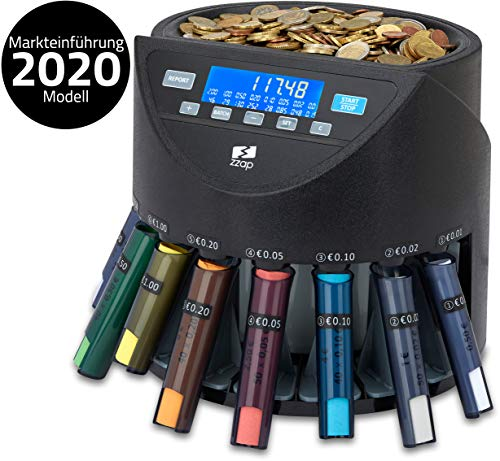ZZap CS20+ Automatischer EURO Münzzähler & -sortierer - Geldzählmaschine Münzzählautomat Geldzähler
