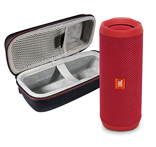 JBL Flip 4 Portable Bluetooth Wireless Speaker Bundle with Protective Travel Case - Red