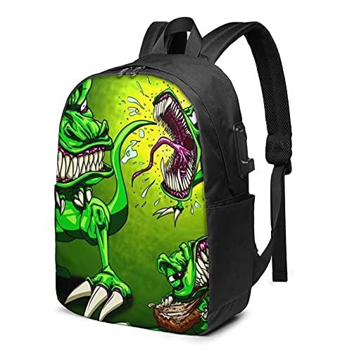 Man-Eating Dragon Mochila, mochila de viaje para portátil con puerto de carga USB para hombres y mujeres de 17 pulgadas, ver imagen, Talla única,